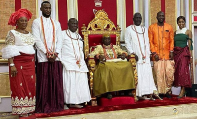 Omashola, Kim Oprah and Tuoyo receive grand reception as the Olu of Warri welcomes them home