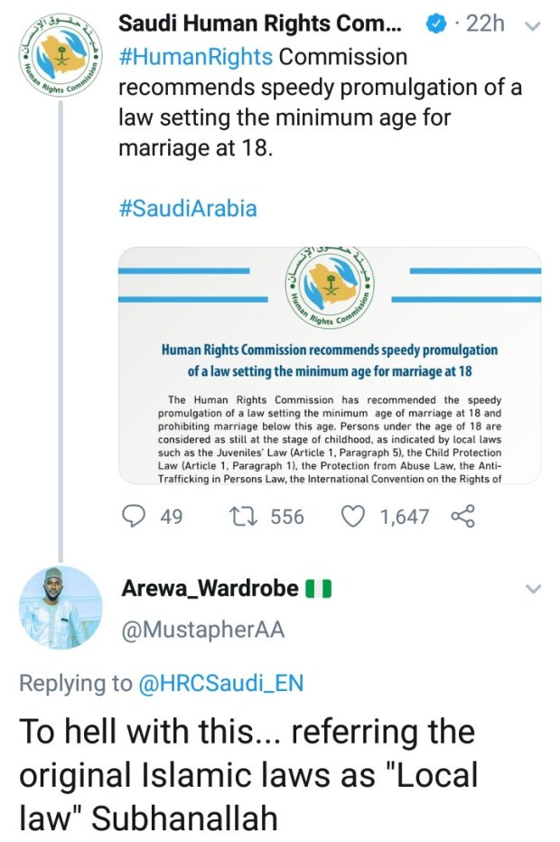 Nigerian man kicks against Saudi Arabia enacting law that prohibits underage marriage