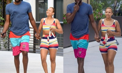 Lamar Odom and his fiancee Sabrina Parr hit Maimi beach after their engagement (Photos)