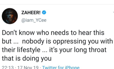 Nobody is oppressing you with their lifestyle, it?s your long throat that is doing you - Ycee
