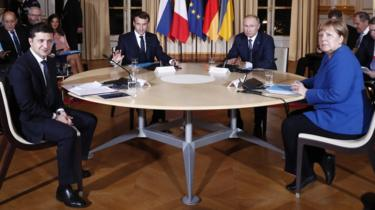 (L-R): Ukrainian President Volodymyr Zelensky, French President Emmanuel Macron, Russian President Vladimir Putin and German Chancellor Angela Merkel, during a summit on Ukraine at the Élysée Palace in Paris, France, 9 December 2019