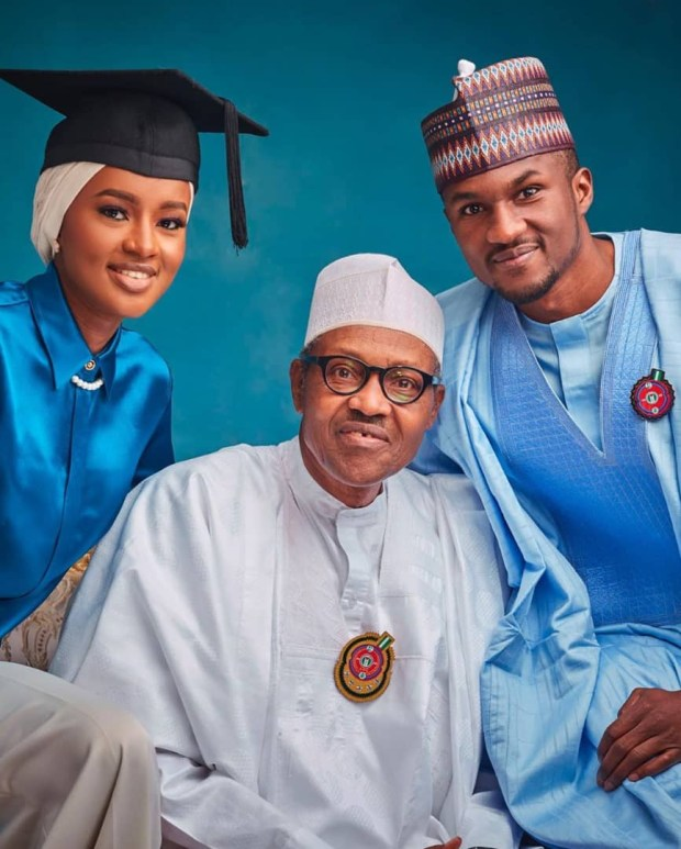 Proud dad! President Buhari looks at his daughter Hanan with pride after she graduated from a UK university with first class honors (photos)