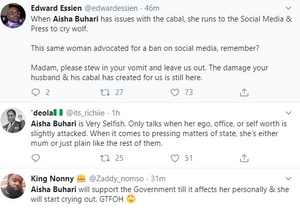 Nigerians react to Aisha Buhari