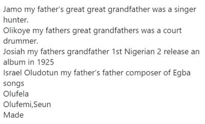Femi Kuti enlightens Twitter user on the history of the