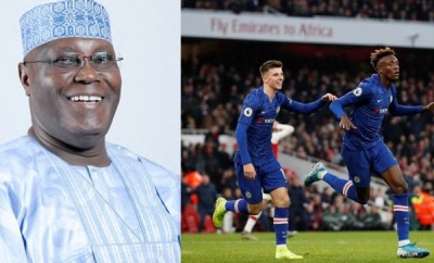 Between Atiku Abubakar and his son Mustapha after Chelsea and Arsenal