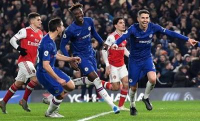 Jorginho (right) is the first Chelsea player to score home and away against Arsenal in the same Premier League season since Juan Mata in 2012-13