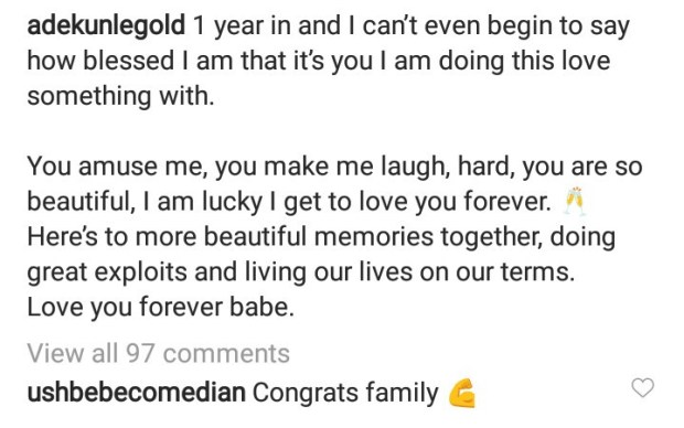Adekunle Gold celebrates Simi with the most beautiful words on their wedding anniversary