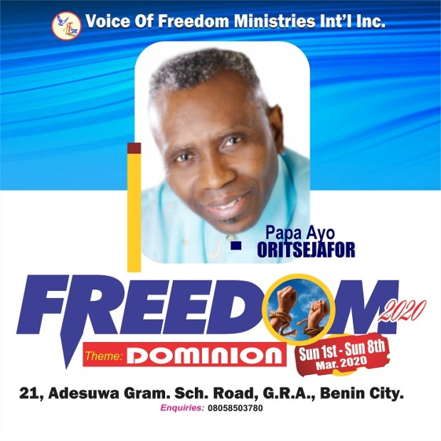 Papa Ayo Oritsejafor Storms Benin City! (Ministering live in  Freedom 2020)