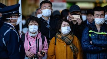 People in Tokyo wearing masks