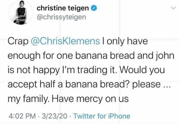 Chrissy Teigen trades banana bread for lettuce with a complete stranger she met on Twitter during coronavirus lockdown (video)