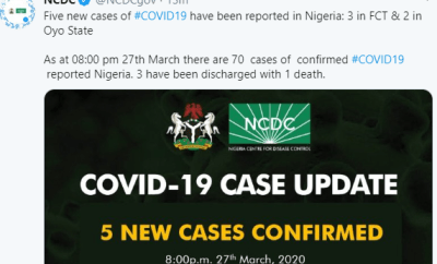 Five new cases of Coronavirus recorded in Oyo and FCT, toll hits 70