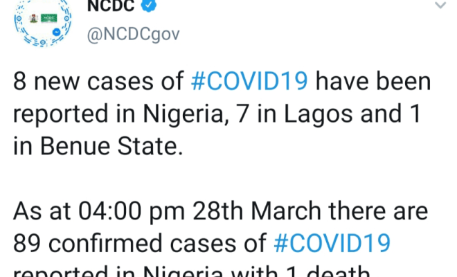 Confirmed coronavirus cases in Nigeria rises to 89 as 8 new cases are reported
