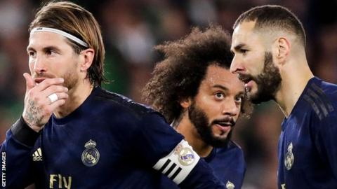 Sergio Ramos (left), Marcelo (centre) and Karim Benzema