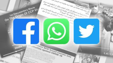 Stacks of screenshots with Facebook, WhatsApp and Twitter logos on top