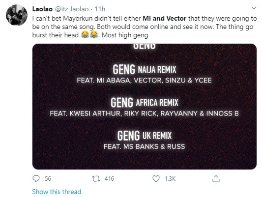 Mayorkun lights up Twitter after revealing he featured