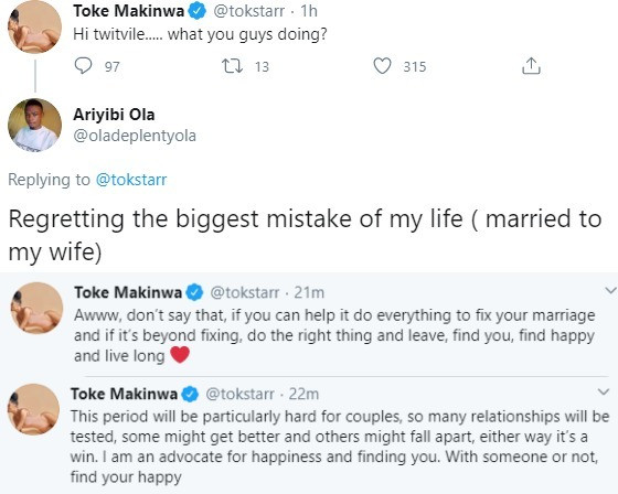 Toke Makinwa gives marriage advice to Twitter user who says he regrets marrying his wife