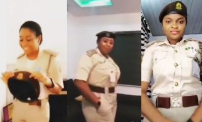 Female officers of the Nigeria Immigration Service queried for partaking in?#Bopdaddychallenge (Video)