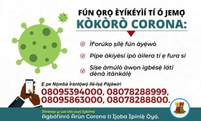 Three new cases of Coronavirus recorded in Oyo State