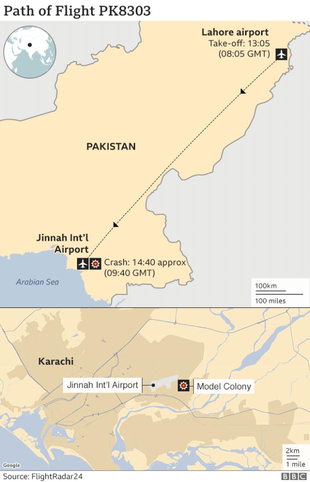 Map of Pakistan highlighting Lahore and Karachi