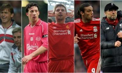 Kenny Dalglish, Robbie Fowler, Steven Gerrard, Andy Carroll and Jurgen Klopp