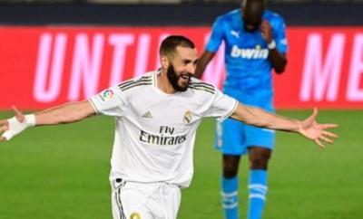 Karim Benzema celebrates scoring