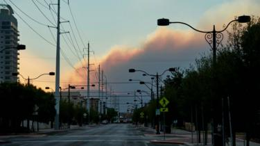 Fire in Mount Charleston as seen from downtown Las Vegas