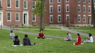 A socially-distanced celebration of law-school graduation at Harvard in May