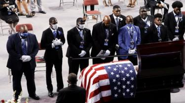 Mourners pay tributes to John Lewis at a memorial service in Troy, Alabama. Photo: 25 July 2020
