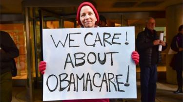 "Constituents speak-out and rally supporting the Affordable Care Act, organized by MoveOn.org outside Senator Pat Toomey""s office on December 20, 2016 in Philadelphia, Pennsylvania."