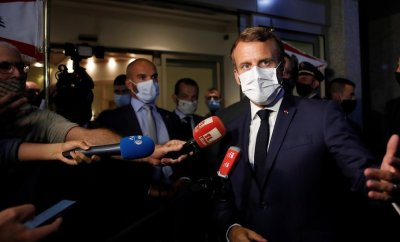 French President Emmanuel Macron speaks with media after his meeting with Lebanese President Michel Aoun at Beirut International airport, Lebanon August 31, 2020