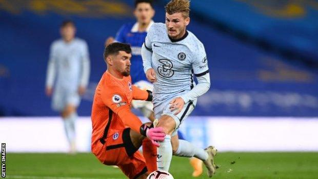 Timo Werner wins a penalty for Chelsea