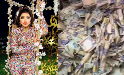 Bobrisky shows off the three bags of money he went home with after the money rain at his secret  birthday party (video)