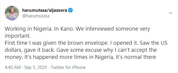 Bribery is normal in Nigeria ? Aljazeera journalist, Haru Mutasa