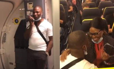 Nigerian man proposes to girlfriend onboard an international flight (video)