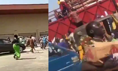 Kwara state residents invade warehouse in Ilorin Airport road, cart away COVID-19 palliatives (Videos)