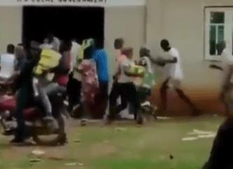 Hoodlums cart away food items stored inside a church in Ogun (video)