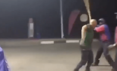 White man receives the beating of his life for allegedly calling a fuel attendant