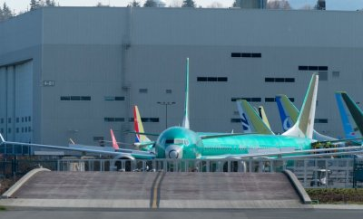 A Boeing 737 MAX 8 airplane is pictured outside the company's factory.