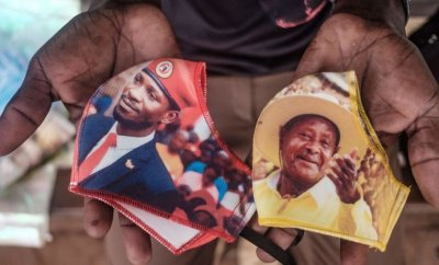 Face masks showing presidential candidates in Uganda - Bobi Wine, left, and Yoweri Museveni, right