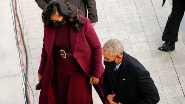 Former First Lady Michelle Obama and former US President Barack Obama at the inauguration