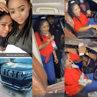 Regina Daniels Mum, Rita Sheds Tears of Joy As She Receives Prado SUV As Birthday Present From Her Daughter [Photos/Video]