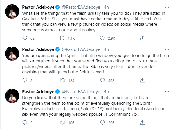 You are quenching the spirit if you think viewing nude photos and videos on social media is okay - Pastor Adeboye