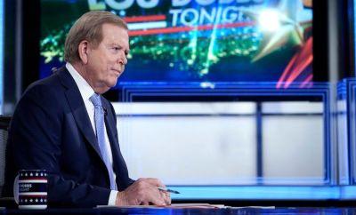 Fox anchor Lou Dobbs in the studio of his TV programme on 23 September 2019