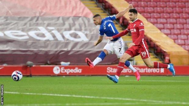 Richarlison scores Everton's goal against Liverpool