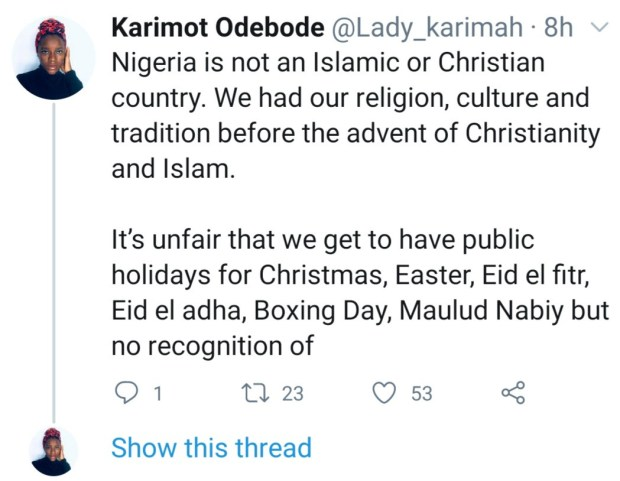 """It is unfair"" Writer questions why Nigeria has Christian and Muslim holiday but none for traditional worshippers"
