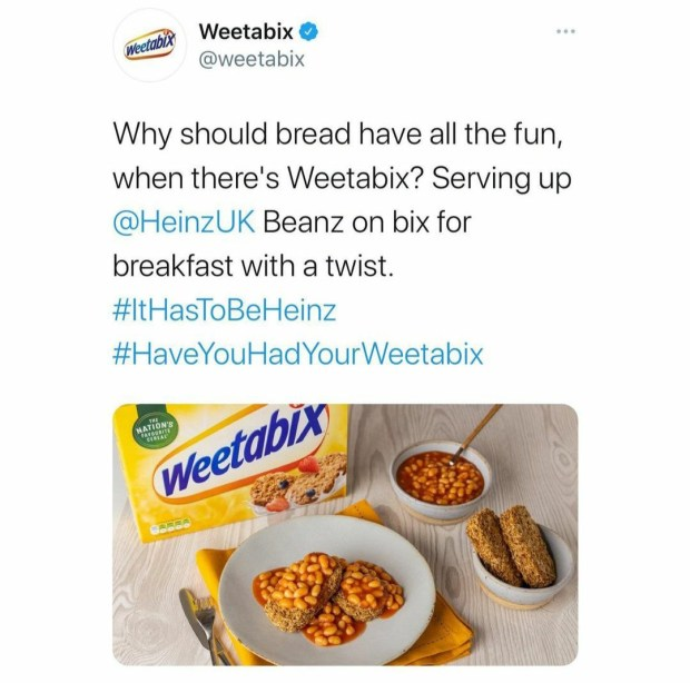 Global brands unite to bash Weetabix for replacing beans and bread with beans and Weetabix