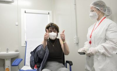 Healthcare personnel carry out vaccination operations against the coronavirus disease with the Pfizer serum at the centre for vaccination against COVID-19, established by Italian Army at Cecchignola in Rome, Italy, 23 March 2021