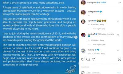 Sergio Aguero's announcement on Instagram