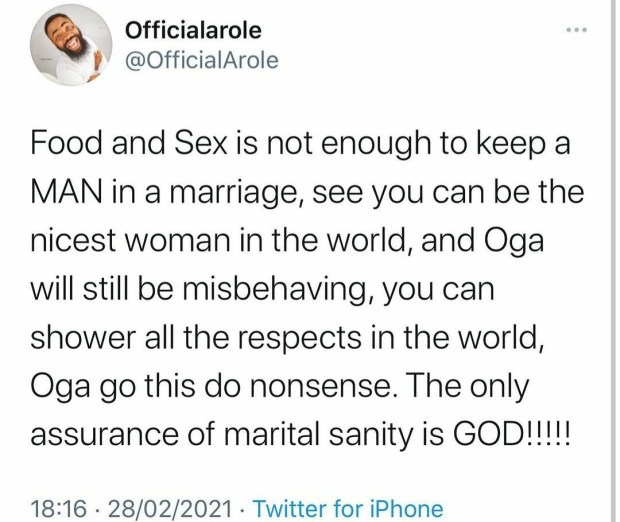 """""""You can be the nicest woman in the world and your man will still misbehave"""" Comedian Woli Arole writes as he reveals the only factor that can keep a marriage"""
