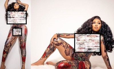 Fashion entrepreneur, Toyin Lawani goes completely naked to show off amazing body art in celebration of her 39th?(photos)